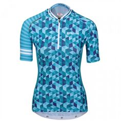 Get the geometric goddess look, a women's specific short sleeve Polaris Vision Cycling Jersey for road racing, weekend rides and long commutes. A lightweight and breathable composition make for a cool and pleasant ride on the bike. Women's Cycling Jersey, Bike Wear, Athlete, Product Launch, Men Casual, Zip, Fabric, Mens Tops, How To Wear