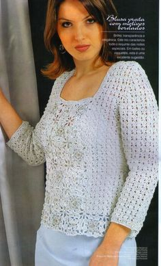 Crochet sweater-blouse with diagram