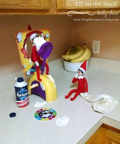 Pie Face Elf fun with these two mischievous elves. Dozens of Easy and Creative The Elf on the Shelf Ideas found on Frugal Coupon Living.