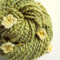 Flower art yarn chunky knitting yarn thick and by thefibretree