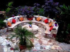 Love the firepit/coffee table idea. The Center has a fire-pit that is covered by Brazilian marble during warmer months, and is used as a coffee table. During colder months, the marble top is removed to use the fire-pit. Too much stone but nice idea Tropical Pool, Tropical Landscaping, Tropical Houses, Landscaping Ideas, Outdoor Landscaping, Fire Pit Furniture, Outdoor Furniture Sets, Outdoor Decor, Outdoor Ideas