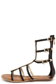 dac592199a16 Warrior Princess Black and Gold Beaded Gladiator Sandals at Lulus.com!  Warrior Princess
