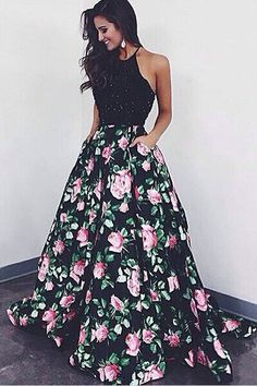 High Quality Halter Ball Gown Floral Backless Black Long Prom Dress Evening Gowns