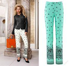 NOVÉ ,,GLOOCKLER luxusní kalhoty se vzorem vel.52 -pas 110cm :: AVENTE ...móda s nápadem
