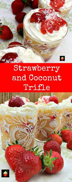Easy Strawberry and Coconut Trifle. An incredibly easy and great tasting dessert sure to please! Easy Strawberry and Coconut Trifle. An incredibly easy and great tasting dessert sure to please! Trifle Desserts, Party Desserts, No Bake Desserts, Trifle Cake, Fudge Recipes, Best Dessert Recipes, Delicious Desserts, Desert Recipes, Amazing Recipes