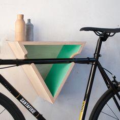Designed & Made in Barcelona by FustaFu Wood Bike Rack, Diy Bike Rack, Bike Hooks, Bike Shelf, Bike Hanger, Bicycle Rack, Indoor Bike Rack, Indoor Bike Storage, Bicycle Storage