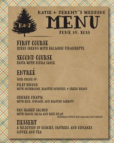 Personalized Rustic Wedding Menu