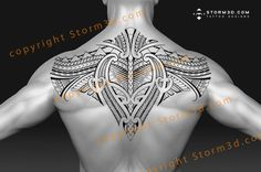 Samoan upperback tattoo design patterns