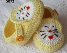 Yellow cotton baby shoes, crochet baby loafers, crochet baby sandals, doraemon…