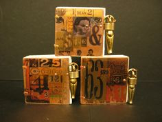 Metal Books with image transfer Covers, Coptic Binding and Handmade closure.  Gaye Medbury