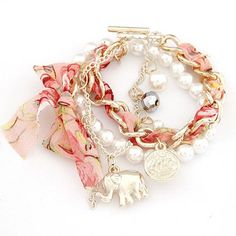 Gold Plated Chain Bead and Cloth Elephant Charm Bracelet