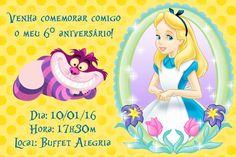 Convite digital personalizado Alice no país das maravilhas 001