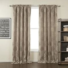"TWOPAGES Tradditinaol Jacquar Beige Floral Rod Pocket Blackout Curtain 50Wx84""L (One Panel) Multi Size Available Custom"