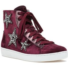 LOLA CRUZ 200t65bk High Top Sneaker Burgundy Velvet ($298) ❤ liked on Polyvore featuring shoes, sneakers, burgundy velvet, high top shoes, lace up shoes, velvet sneakers, velvet shoes and hi tops
