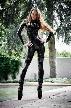 Latex catsuit and ballet heels