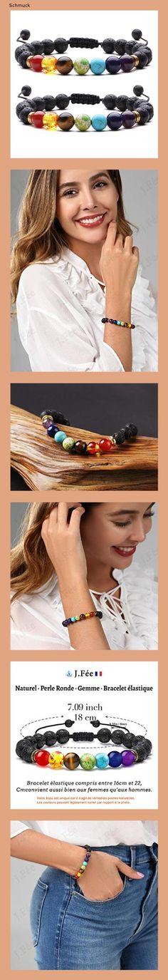 J.Fée Chakra Armband 8mm Perlenarmband Yoga Armband Armband aus Steinperlen Verstellbares Perlenarmband Damen Herren Edelstein Perlen Armband Energie Armband Valentinstag Liebhaber - 14g3