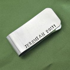 Jeremiah 29:11 Hand stamped money clip for Dad by CICinspireme