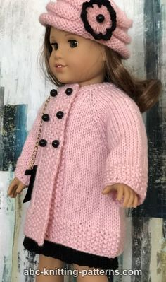 ABC Knitting Patterns – American Girl Doll Vintage Double-Breasted Jacket – Knitting patterns, knitting designs, knitting for beginners.