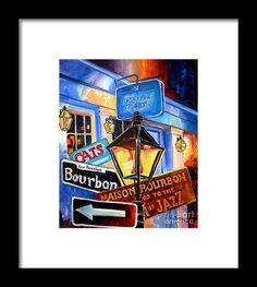 Signs Of Bourbon Street Framed Print by Diane Millsap.  All framed prints are professionally printed, framed, assembled, and shipped within 3 - 4 business days and delivered ready-to-hang on your wall. Choose from multiple print sizes and hundreds of frame and mat options.