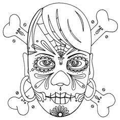 day of the dead halloween coloring page could easily be a tattoo too anywaysthis age has hundreds of halloween coloring pages all neatly cate
