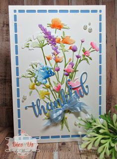Judy Woodland: Tim Holtz Wild Flowers Die Set with watercolor paper; watercolor with Tim Holtz Distress Inks; Sue Wilson Australian Background and Mix & Match Friendship dies; GKD White and Powder Blue Card Stock; ribbon and pearls. Making Greeting Cards, Greeting Cards Handmade, Tim Holtz Dies, Sizzix Dies, Tim Holtz Distress Ink, Flora, Watercolor Cards, Card Tags, Flower Cards