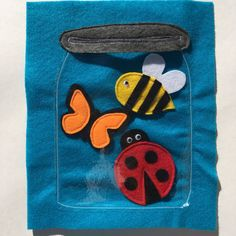 BUG JAR Quiet Book Page: -The Bug Jar page includes a butterfly, bumblebee & ladybug. -Your little one will have fun putting the bugs in and out of their bug jar (made of thin, flexible plastic) that is securely attached to a colorful piece of felt. NOTES: -Let me know what color you prefer for the background at checkout, otherwise I will choose a bright, fun color for you. GENERAL INFO:  -Each page is 9x11 inches and has 3 button holes that will fit perfectly in any standard 3-ring binder…
