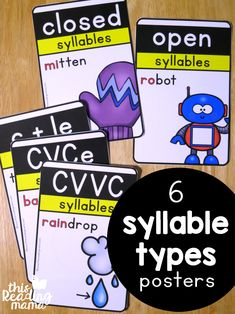 6 Syllable Types Posters - This Reading Mama Word Study Activities, Literacy Games, Spelling Activities, Reading Activities, Dyslexia Activities, Teaching Resources, Reading Help, Guided Reading, Teaching Reading