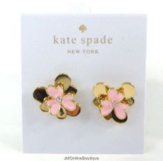 Kate Spade Pansy Blossoms Gold tone Pink Crystal Stud Earrings NEW! Kate Spade Earrings, Stud Earrings, Pansies, Bag Sale, Blossoms, Dust Bag, Jewelry Accessories, Plating, Crystals