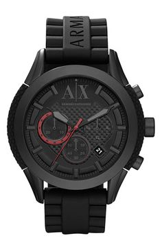 AX Armani Exchange Round Silicone Strap Watch