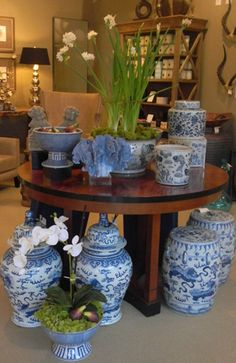More blue and white ginger jars