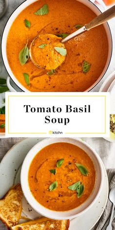 Best-Ever Tomato-Basil Soup (Made with Fresh Tomatoes!) This Luxe Fresh Tomato Soup Has Just 5 Ingredients Dairy Free Tomato Soup, Fresh Tomato Soup, Creamy Tomato Basil Soup, Tomato Basil Soup Crockpot, Vegan Tomato Soup, Fresh Tomato Recipes, Seafood Recipes, Soup Recipes, Cooking Recipes