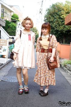 Harajuku Dolly Girls' Vintage Dresses & Floral Tattoos