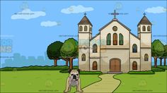 A Brave Looking Bulldog With A Church Outside The City Background:  A big dog with white black and cream colored short fur folded ears drooping skin looking ahead and Outside view of a cathedral with beige walls gray roofing cross green trees and walkway overlooking the city  #animal #cartoon #clipart #illustration #vector #vectortoons