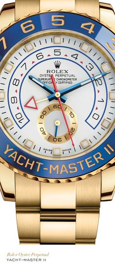 Rolex Yacht-Master II 44 mm in 18 ct yellow gold with a blue ceramic bezel, white dial and Oyster bracelet.