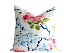 Offered is one beautiful Chinoiserie Chintz pillow cover, crafted from stunning designer fabric. Pink flowers, Green leaves, and dark blue bonsai on an ivory basecloth. Satin-like qualities.Same fabric both sides, invisible zipper closure. Cream Pillow Covers, Cream Pillows, Blue Pillows, Decorative Pillow Covers, Throw Pillows, Green Velvet Pillow, Fabric Feathers, Floral Cushions, Handmade Pillows