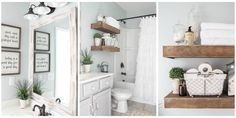 Love all of it, esp. wall color. Under $600--See how one blogger transformed a basic bathroom into a charming oasis.