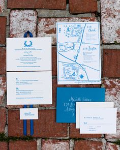 Blue-and-White Wedding Inviations