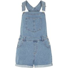 Dorothy Perkins Petite denim dungaree short found on Polyvore featuring shorts, blue, petite, dorothy perkins, blue short shorts, petite denim shorts, denim short shorts and denim dungaree