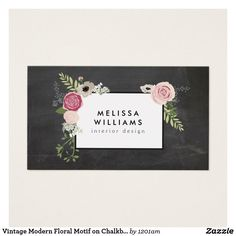 Vintage Modern Floral Motif on Chalkboard Designer Business Card | Zazzle.com