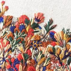 Intricate Embroideries Resembling Landscapes of Wildflowers via @brwnpaperbag