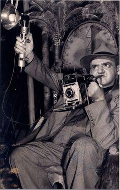 Weegee the great press/crime/street photographer,   (please follow minkshmink on pinterest)