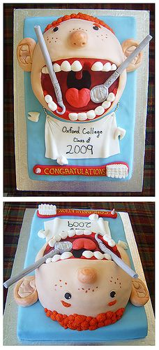 Cute for anyone who works at a dentist office. Oxford dentist cake by Mrs… Crazy Cakes, Fancy Cakes, Unique Cakes, Creative Cakes, Pretty Cakes, Cute Cakes, Dental Cake, Dental Teeth, Dental Hygiene