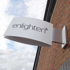 Projecting Sign - fabricated from aluminium, complete with a structural, zinc plated steel, mounting and projecting bracket, clad in a stainless steel finish composite. Manufactured by Signbox