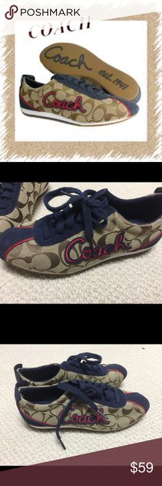 c41158179 Coach sneakers Adorable coach shoes with coach logo pattern. Blue and red  detailing. Very