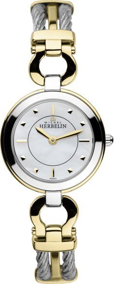 Michel Herbelin Ladies Stainless Steel and Gold Cable Maxi Watch Stainless Steel Cable, Radio Control, Watches, Gold Bands, Lady, Gold Watch, Chronograph, Bracelet Watch, Pearls