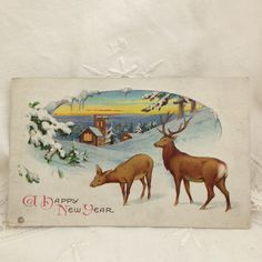 Antique Postcard, Deer, Happy New Year, Antique Holiday Cards, Deer Postcard, Naturalistic Deer, Pretty Holiday Postcards, Winter Scene wanted an etched front door window with deer in a forrest