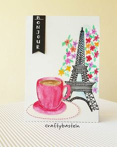 My 4th card for the Coffee Lovers Blog Hop. All was handdrawn  I miss Paris like A LOT! Let's enjoy the sunshine now  . . #3rdhome #summerclh . . #diy #cardmaking #kartengestaltung #carterie #handmadecards #handlettering #drawing #doodling #colouring #coloriage #summer #coffee #Paris #papercraft #craft #basteln #bricolage #craftybasteln