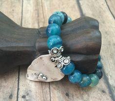 Romantic Blue Agate Bracelet glam Bohemian by OliviaLolaBijoux