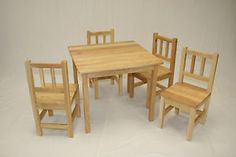 Kids  Table and 4 Chairs Set Solid Hard Wood | eBay