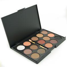Marca Hot New 15 Colores Mate Paleta de Sombra de ojos Ahumado Tierra Desnuda Maquillaje Cosméticos Sombra de Ojos paletas de sombras Con Cepillo